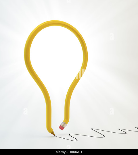 light bulb pencil - Stock-Bilder