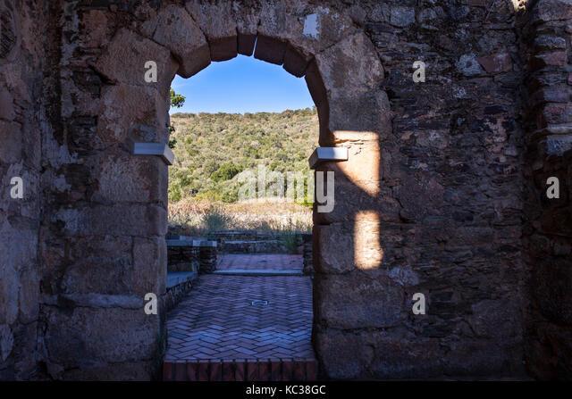 Visigothic Basilica of Santa Lucia del Trampal, Alcuescar, Spain. Scenic spot from semicircular arch - Stock Image