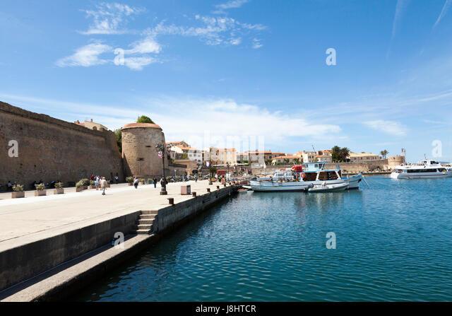 The impressive marina at Alghero, North Sardinia - Stock Image