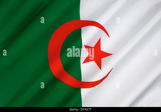 The national flag of Algeria - Stock Image
