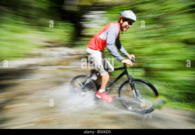 Mountaibiker on the way - Stock Image