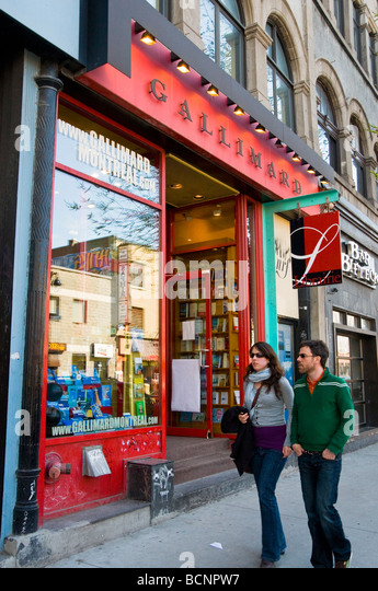 French language bookstore Gallimard on Boulevard saint Laurent Montreal canada - Stock Image