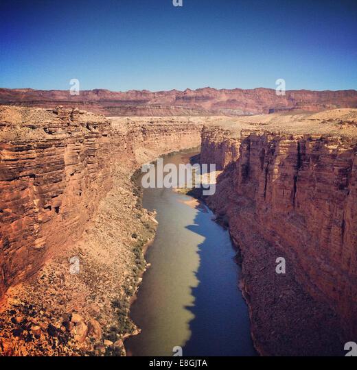 View of Colorado river from Navajo Bridge, Arizona, America, USA - Stock-Bilder