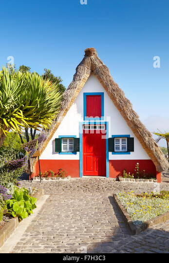 Santana traditional house - Santana, Madeira Island, Portugal - Stock Image