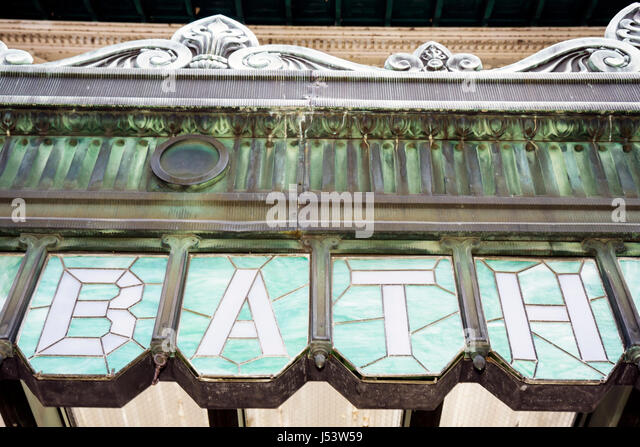 Arkansas Hot Springs Hot Springs National Park Bathhouse Row Fordyce Bath House Visitor Center bronze strained glass - Stock Image