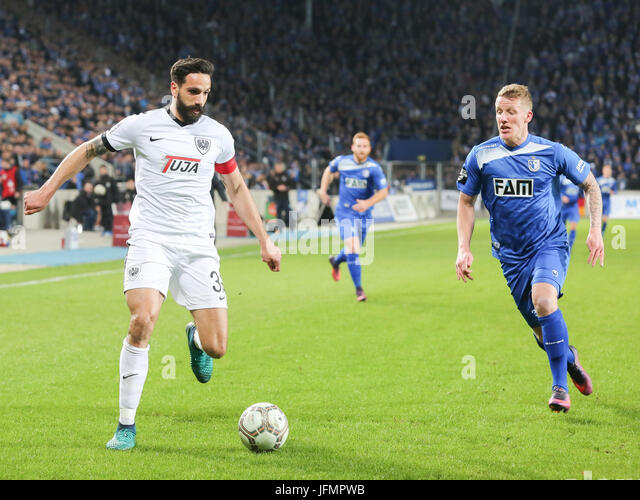 Adriano Grimaldi (Preußen Münster) and Richard Weil (1.FC Magdeburg) - Stock Image