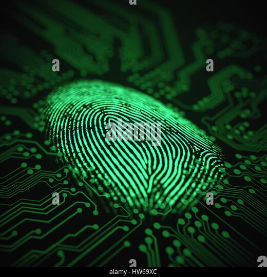 Fingerprint and printed circuit board, illustration. - Stock-Bilder