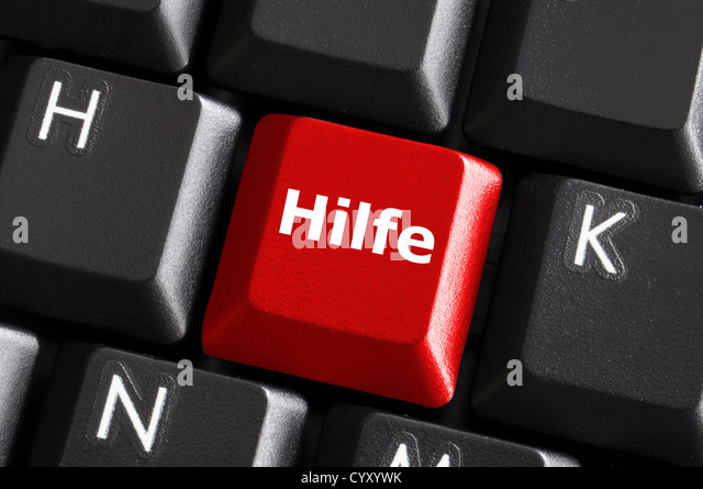 german word hilfe showing help or assistance concept with keyboard - Stock Image