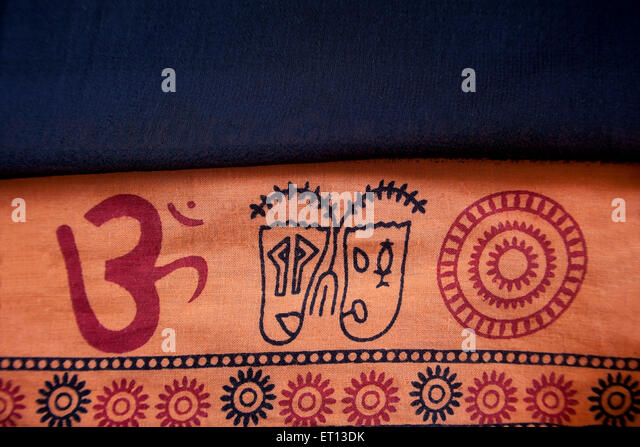 Hinduism Aum or Om sign symbol on Clothes Cotton fabric India Asia  Jan 2011 - Stock Image