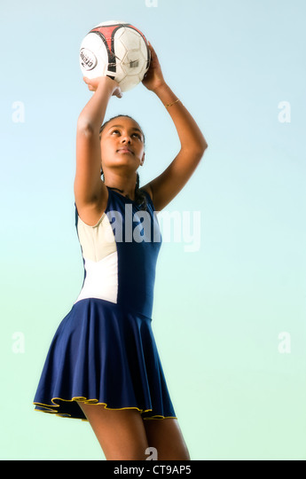 black african girl playing netball - Stock Image