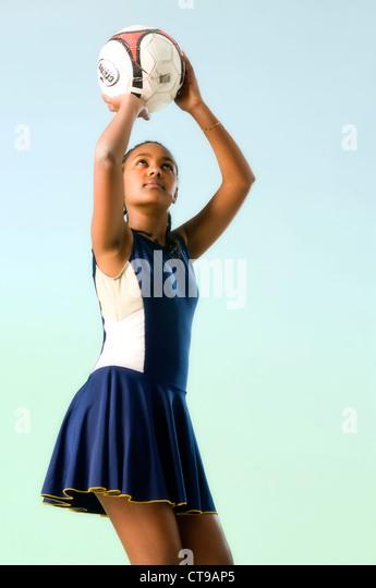 black african girl playing netball - Stock Image