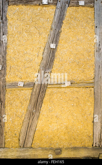traditional wattle and daub wall - Stock Image