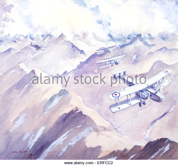 The Evacuation of Cabul, 1928-9 by John Davies. Shows biplanes flying over mountains beneath clouds. Royal Air Force - Stock Image