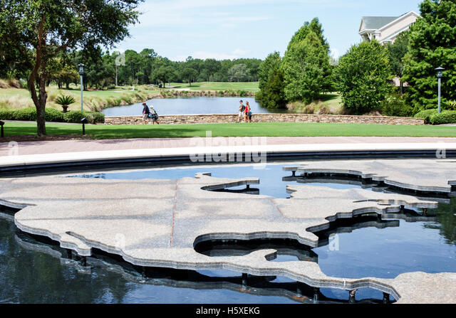 St. Saint Augustine Florida World Golf Village Hall of Fame fountain - Stock Image