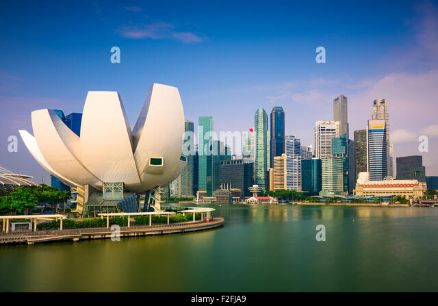 Singapore skyline at Marina Bay. - Stock Image
