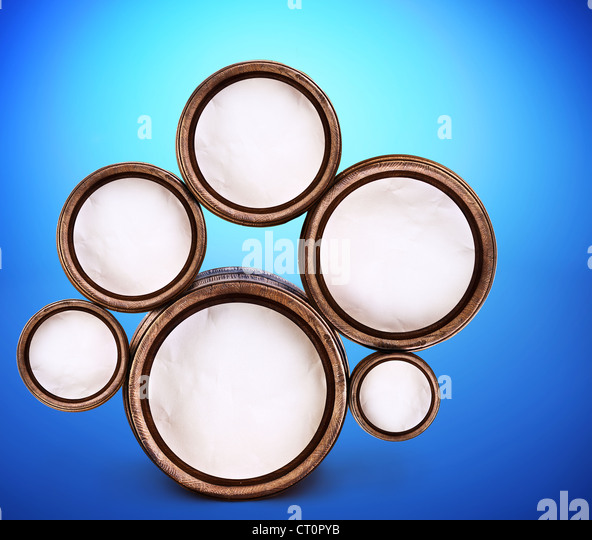 Abstract design of round shapes in the form of beer barrels on a blue background. Inside the barrels textured watercolor - Stock-Bilder