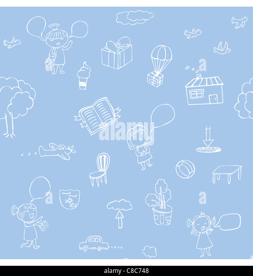 Seamless pattern of hand sketches illustration about nature and traveling. - Stock Image