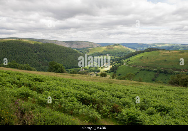The view of the landscape from Horseshoe Pass on the A542 road near Llangollen in Wales - Stock Image