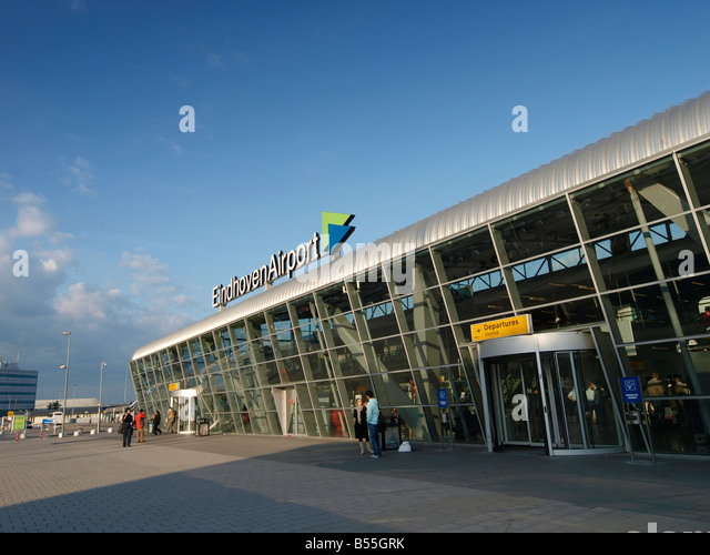 Eindhoven Airport arrivals departures terminal building Eindhoven Noord Brabant the Netherlands - Stock-Bilder