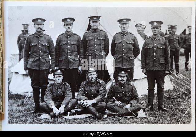 British First World War soldiers in encampment, 1st World War, 1st WW, Great War 1914-1918, history, archive archival - Stock-Bilder