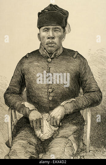 Masupha, Basuto chief, who rebelled again British rule in Basutoland in South Africa. Engraving by Capuz. - Stock Image