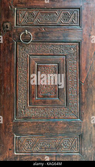 Wooden ornate door of Mausoleum of al-Salih Nagm Ad-Din Ayyub, Cairo, Egypt - Stock Image