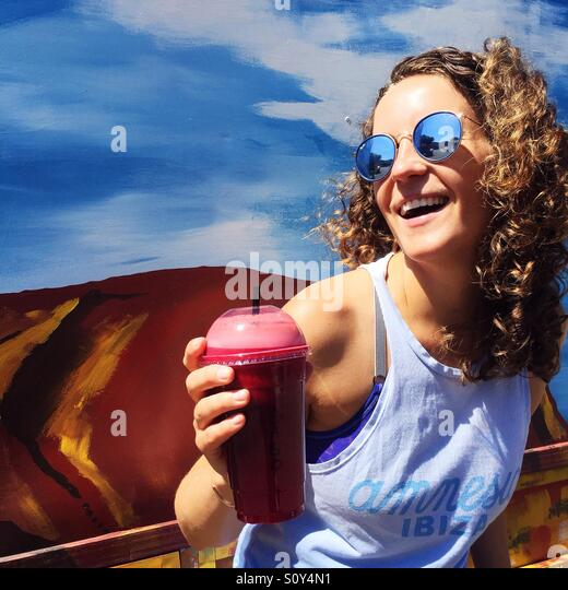 Portrait of a happy woman - Stock Image