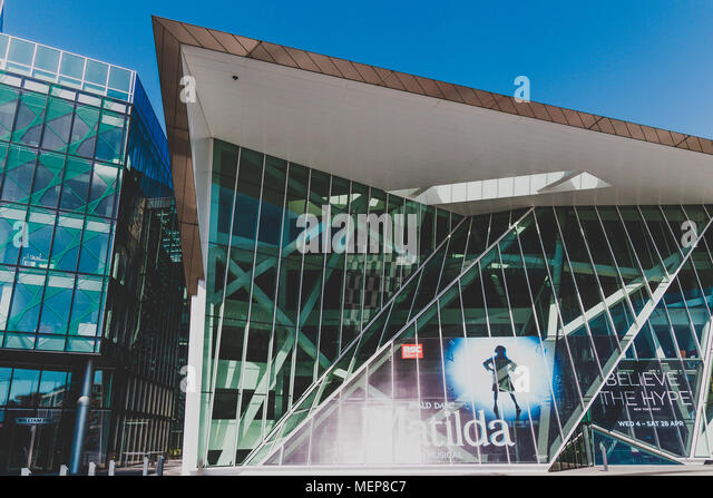 DUBLIN, IRELAND - April 21st, 2018: architectural details of the Bord Gais Theatre and the Marker Hotel in the renovated Docklands area shot on a sunn - Stock Image