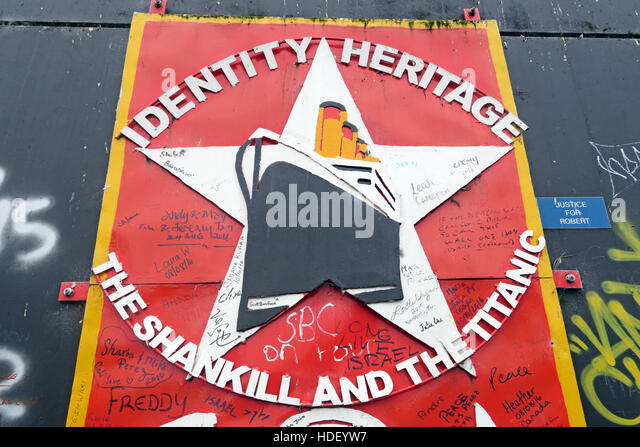 Identity,Heritage,International Peace Wall,Cupar Way,West Belfast, Northern Ireland, UK - Stock Image