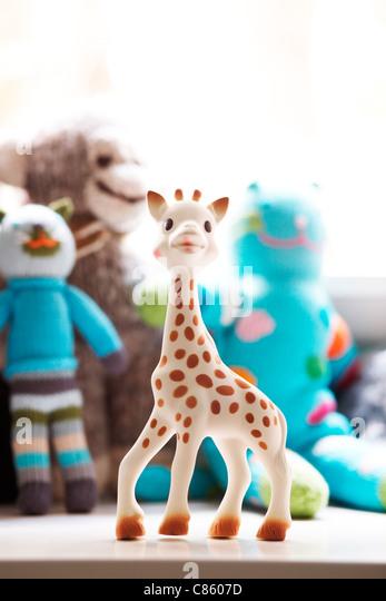Plastic giraffe toy - Stock Image