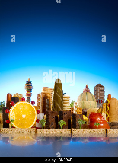 London city skyline made of food - Stock Image