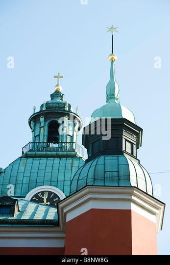 Sweden, Stockholm, spires of Sankt Jakobs kyrka (Saint James's church) - Stock Image