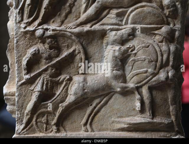 Ara Casali. Altar dedicated by Tiberius Claudius Faventinus. Batlle. Relief. 2nd C. AD. Octogonal Court. Vatican - Stock Image