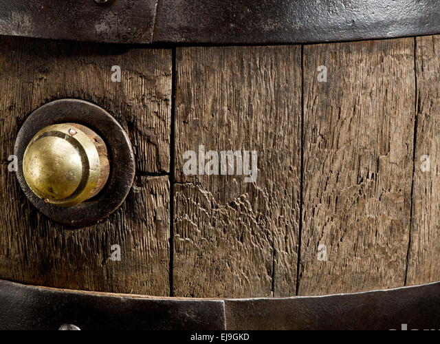 Old oak wine barrel. Close-up. - Stock Image