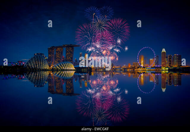 Singapore Fireworks - Stock-Bilder