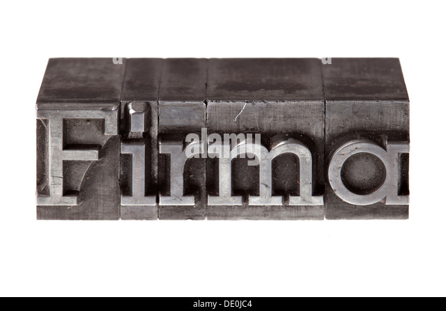 Old lead letters forming the word 'Firma', German for 'company' - Stock Image
