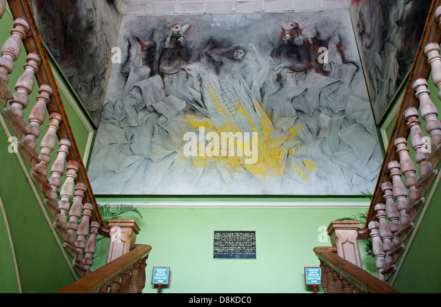 Painting depicting Mayan creation myth painted by Fernando Castro Pacheco in the Palacio de Gobierno or Government - Stock Image