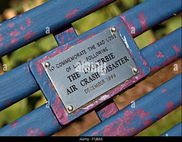 Lockerbie PanAm103 In Rememberance Memorial Bench,Scotland - Stock Image