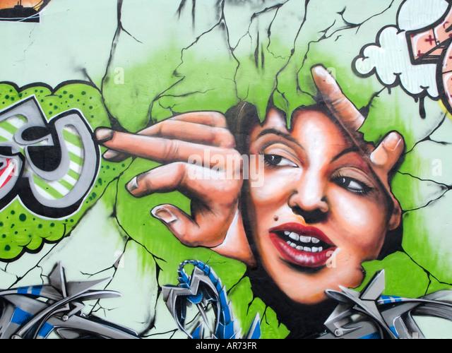 graffiti painted wall - Stock Image