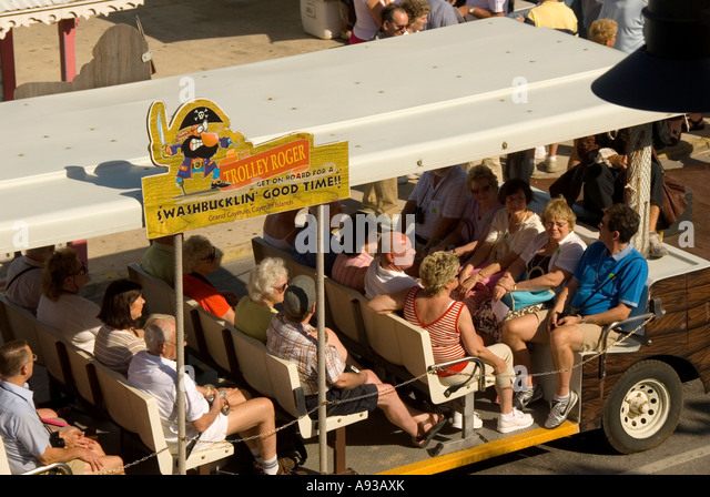 Grand Cayman George Town Trolley Roger tourist bus - Stock Image