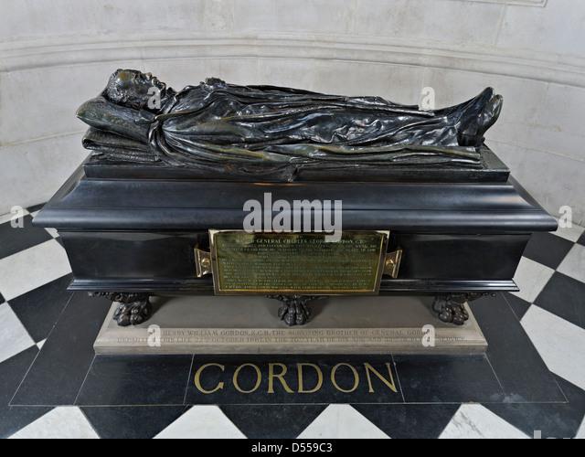 Saint Paul's Cathedral London, General Gordon monument - Stock Image
