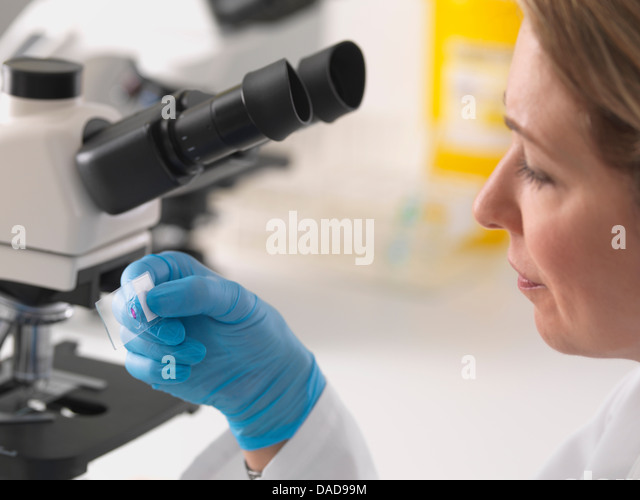 Female microbiologist viewing specimen slide under microscope in lab - Stock Image