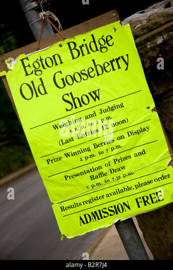 Poster for Egton Bridge Old Gooseberry Show North Yorkshire - Stock Image