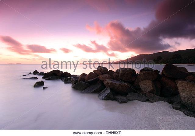Sunset at Praslin, Seychelles - Stock-Bilder