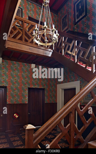 Ramsgate, Kent. The Grange Staircase and Entrance Hall by A.W.N. Pugin for himself - Stock Image