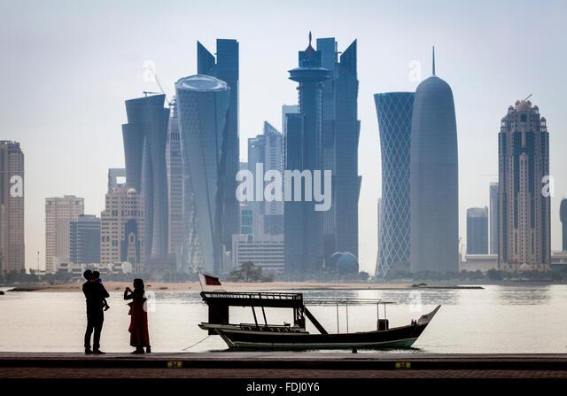 Doha Skyscrapers, Doha, Qatar - Stock-Bilder