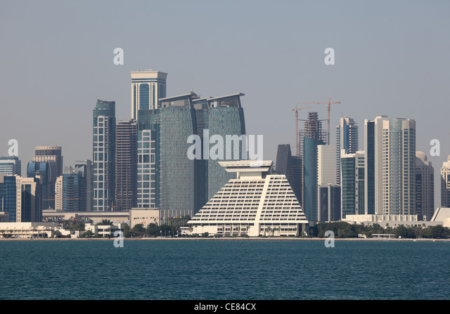 Skyline of the Doha downtown district Dafna. Qatar, Middle East - Stock Image