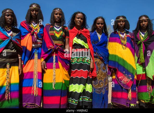 Borana tribe virgin girls during the Gada system ceremony, Oromia, Yabelo, Ethiopia - Stock-Bilder
