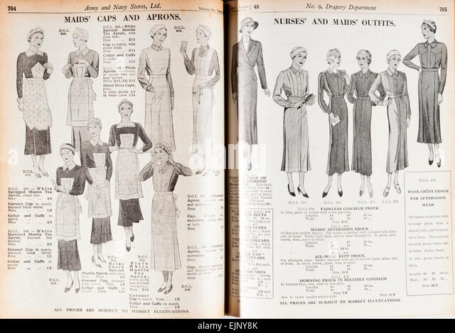 From the Army and Navy Stores prewar mail order catalogue, (London, UK, 1935) - maids' and nurses' uniforms - Stock Image