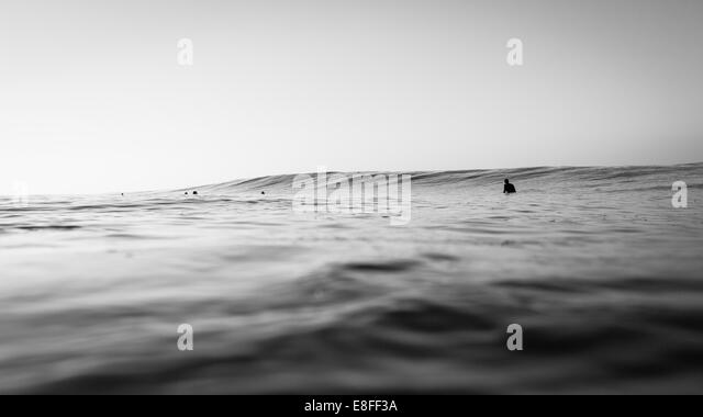 Group of surfers waiting to catch a wave - Stock-Bilder